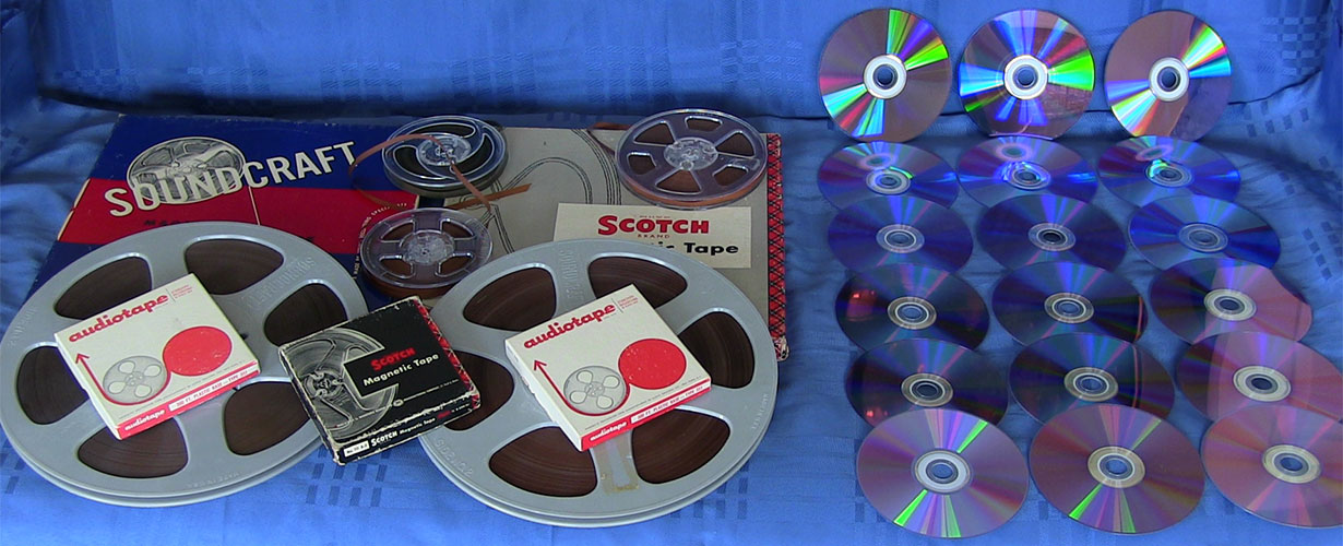 transfer of audio tapes, cassette tapes, 8 track tapes and records to compact disc